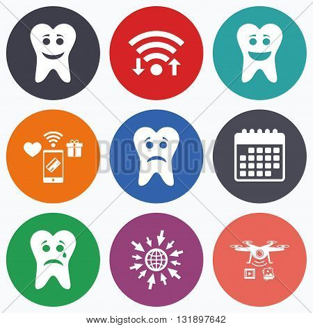 Wifi, mobile payments and drones icons. Tooth happy, sad and crying faces icons. Dental care signs. Healthy or unhealthy teeth symbols. Calendar symbol.