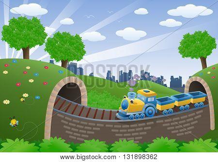 illustration of a train transportation vehicle on natural background