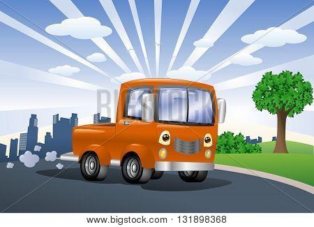 illustration of an orange pick up car on city background