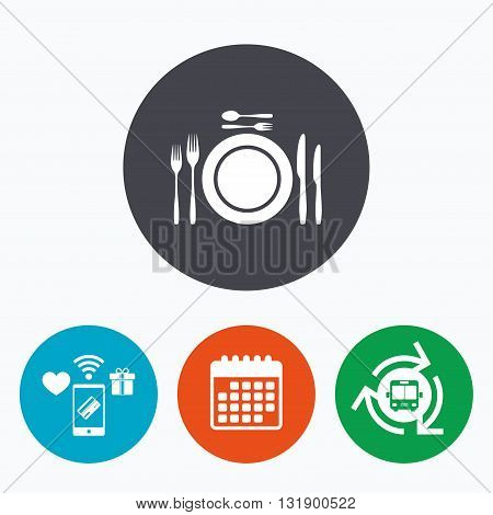 Plate dish with forks and knifes. Dessert trident fork with teaspoon. Eat sign icon. Cutlery etiquette rules symbol. Mobile payments, calendar and wifi icons. Bus shuttle.