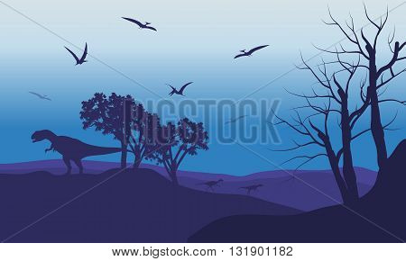 Silhouette of Pterodactyl and Allosaurus with purple backgrounds