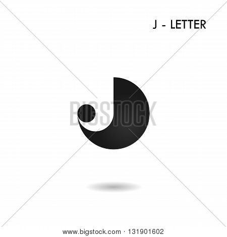 Black circle sign and Creative J-letter icon abstract logo design.J-alphabet symbol.Corporate business and industrial logotype symbol.Vector illustration