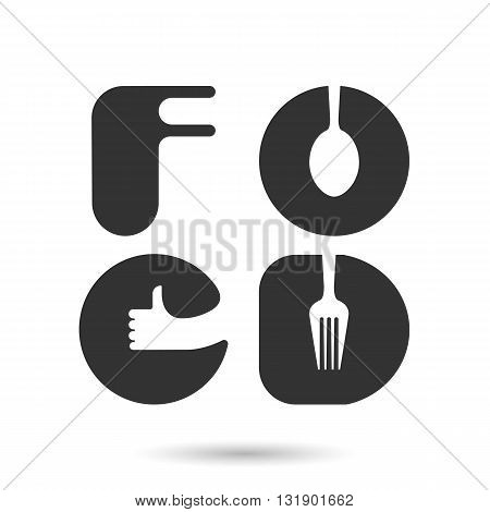 FOO and D-letters logo elements design.Spoon and fork icon with human hand symbol.