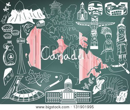 Travel to Canada doodle drawing icon with culture costume landmark and cuisine tourism concept in blackboard background create by vector