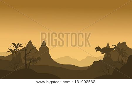 Silhouette of Allosaurus at morning with brown backgrounds