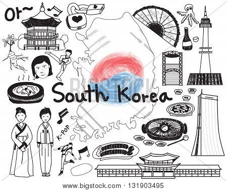 Travel to South Korean doodle drawing icon with culture costume landmark and cuisine tourism concept in isolated background create by vector