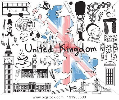 Update version - Travel to United kingdom England and Scotland doodle drawing icon with culture costume landmark and cuisine tourism concept in isolated background create by vector