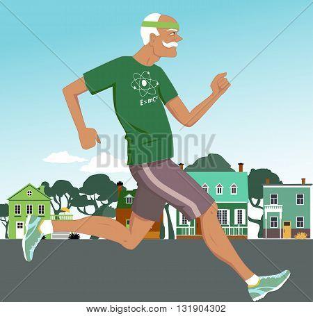 Active senior man jogging down the suburbs street