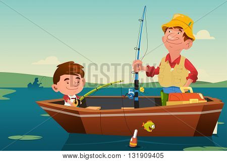 A vector illustration of father fishing together with his son on a boat
