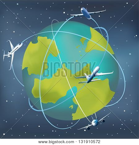 Earth planet with airplanes around. Vector illustration of a cartoon design earth planet globe with aircrafts and flight paths. Starry sky background.