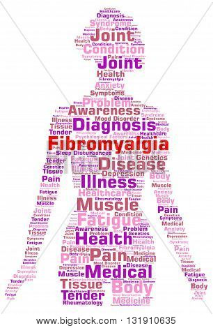 Fibromyalgia word cloud concept with a white background