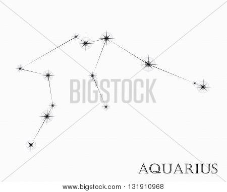 Aquarius Zodiac sign, black and white vector illustration
