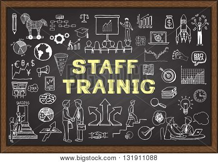 Hand drawn business icons about STAFF TRAINING on chalkboard for background, header, banner - Stock vector