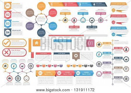 Infographic elements - objects with numbers and text, timeline infographics, check and cross symbols, circle diagram, speech bubbles, process charts, vector eps10 illustration