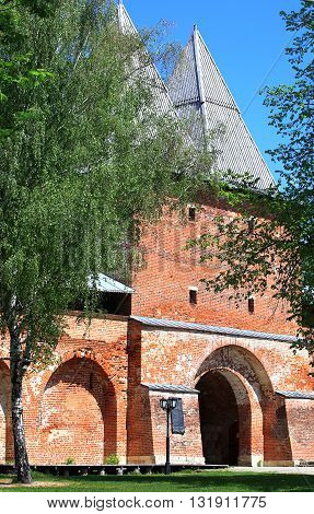 Ancient gate and gate tower of the medieval fortress - Kremlin in Zaraysk Moscow region