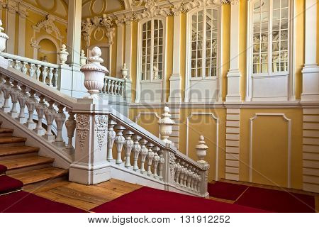 Pilsrundale Latvia - May 28 2016.; Interior of Rundale palace. Rundale palace is one of the most outstanding monuments of Baroque and Rococo art in Latvia.