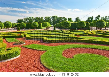 Traditional french garden. Rundale palace was built in 1740 Latvia