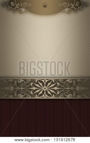 Vintage background with decorative border and elegant ornament.