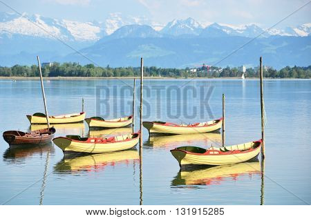 Pleasure boats on Pfaeffikon lake, Switzerland