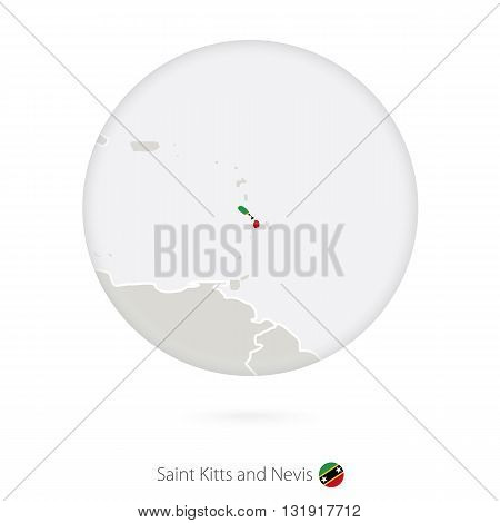 Map Of Saint Kitts And Nevis And National Flag In A Circle.