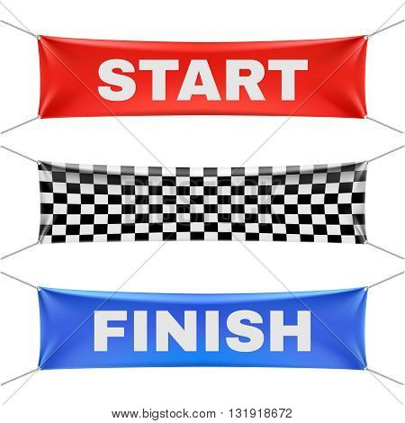 Starting, finishing, and checkered vinyl banners with folds. Sport flag start and finish, banner checkered for competition race. Start or finish sign illustration vector set