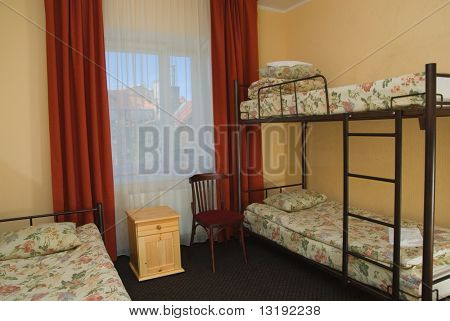 Hostel room with city view