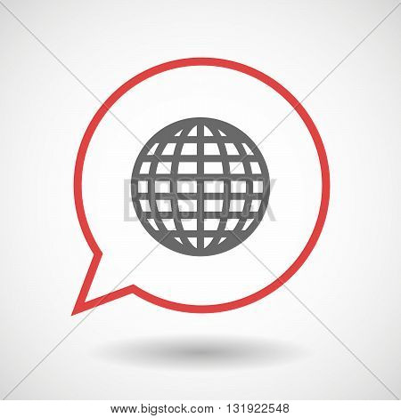 Isolated Line Art Comic Balloon With A World Globe
