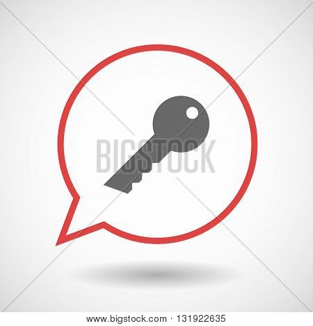 Isolated Line Art Comic Balloon With A Key