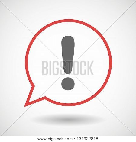Isolated Line Art Comic Balloon With An Exclamarion Sign