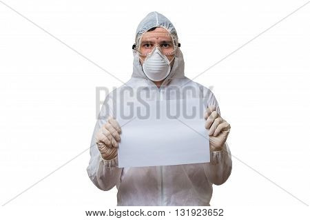 Scientist In Coveralls Is Holds Blank Paper For Custom Text. Iso