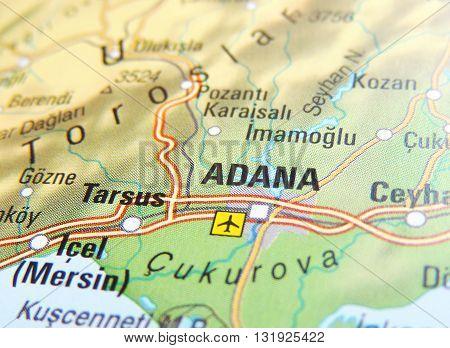 Map of Adana, Turkey. Middle East with focus on Adana.