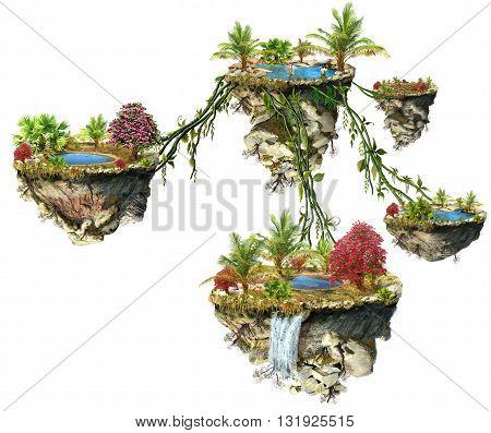 Fantasy world islands on a white background
