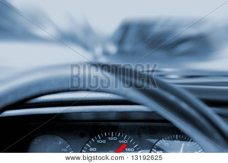 Car crash (toned in blue)