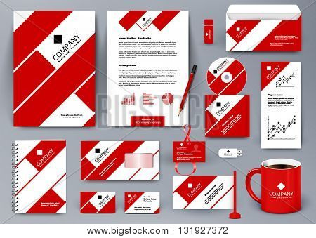 Professional universal branding design kit with red and white tape lines. Corporate identity template. Business stationery mockup with folder, mug, etc.