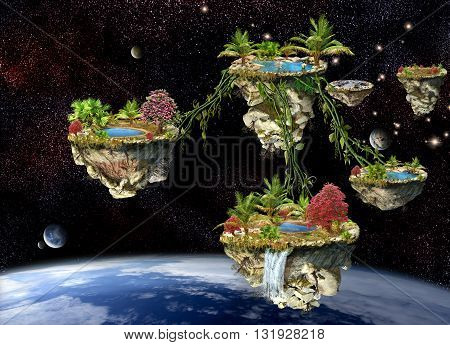 Fantasy world islands on a dark space planets background