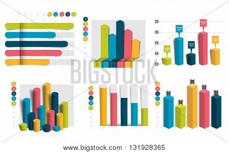 Set of charts, graphs. Simply color editable. Infographics elements.