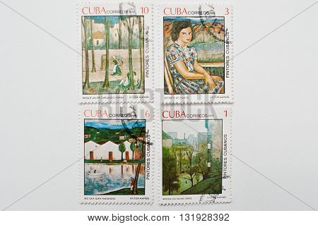 Uzhgorod, Ukraine - Circa May, 2016: Collection Of Postage Stamps Printed In Cuba Shows Cubanos Pain