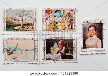 Uzhgorod, Ukraine - Circa May, 2016: Collection Of Postage Stamps Printed In Cuba Correos Shows Cuba