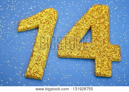 Number fourteen yellow color over a blue background. Anniversary. Horizontal