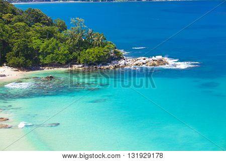 Great view on Laem Sing beach in Phuket Thailand