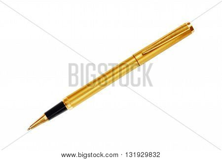 The gold pen isolated on white background