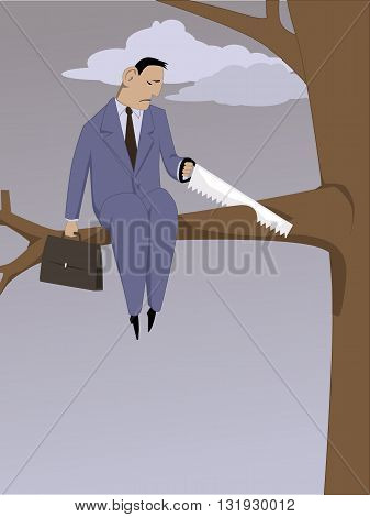 Self-sabotage. A depressed man sawing off a tree brunch he is sitting on