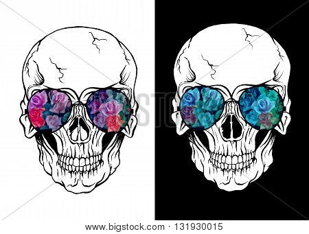 Skull of human with sunglasses. Flowers placed in eyeglasses.Design for t-shirts