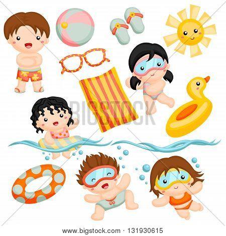 Fun swim time with friends in the sun