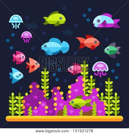 Underwater life with sea animals in flat style. Water ocean animal fish and underwater illustration vector fish