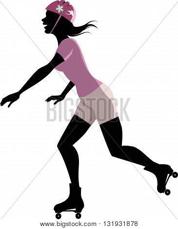 Roller skating woman silhouette, EPS8 vector illustration
