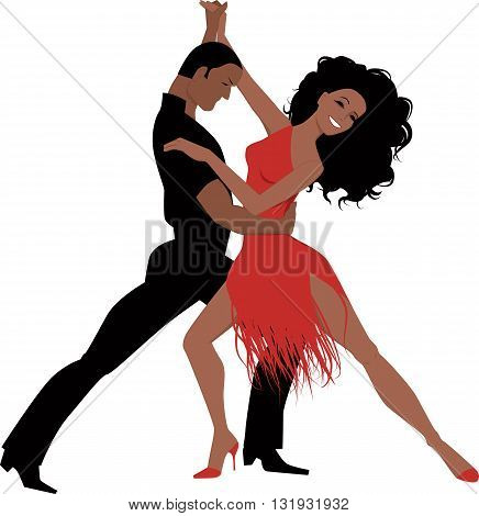 Sexy Latino couple dancing Latin ballroom dance, isolated on white