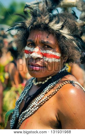 Frowning Woman In Papua New Guinea