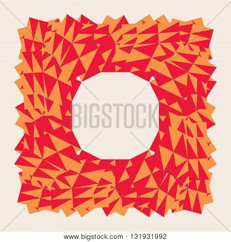 Abstract Red polygonal trigonal low poly vector frame, with a circular blank frame inside.