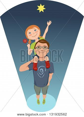 Reach for a star. Girl sitting on her father's shoulders, trying to reach the star, conceptual illustration for early childhood development